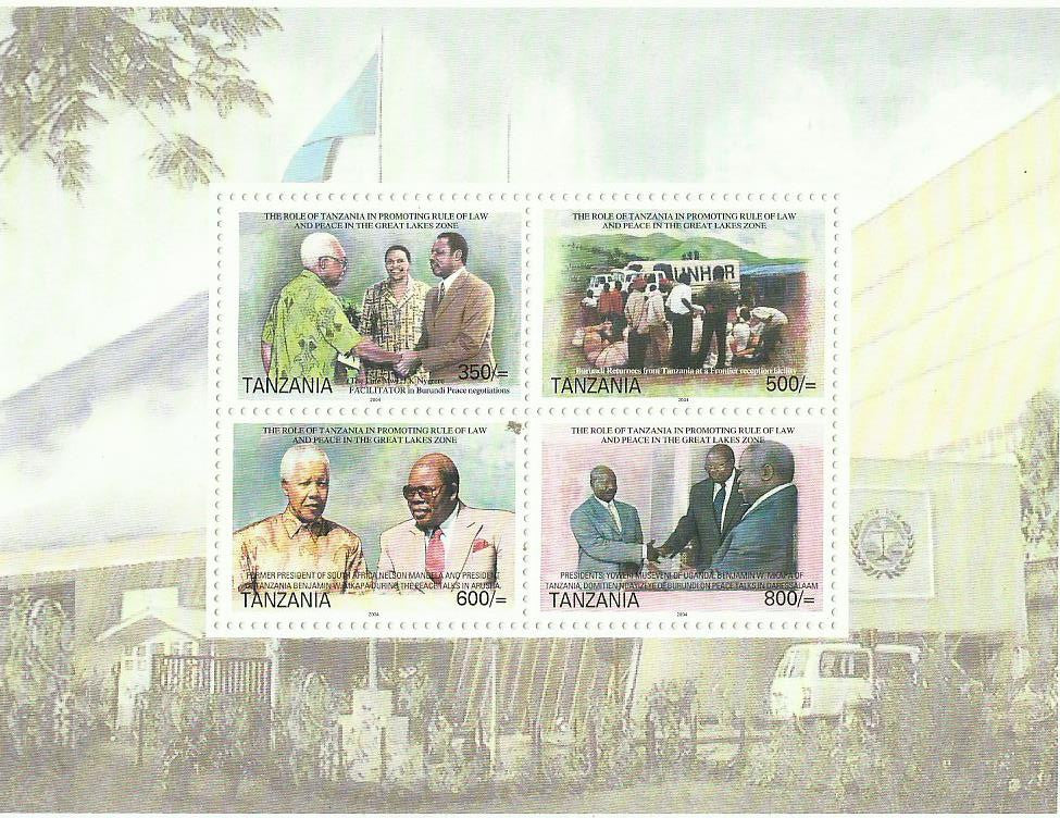 Role of Tanzania in Promoting Rule of Law and Peace in Great Lakes Zone - Sheetlet - Philately Tanzania stamps