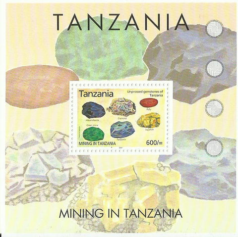 Mining in Tanzania - Unprocessed gemstones of Tanzania - Souvenir - Philately Tanzania stamps