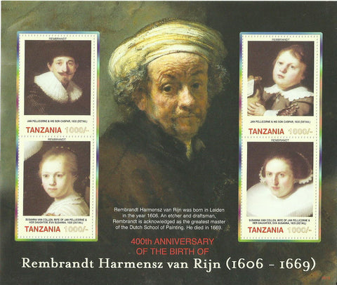 400th Anniversary of birth of Rembrandt Harmensz van Rijn - Sheetlet - Philately Tanzania stamps