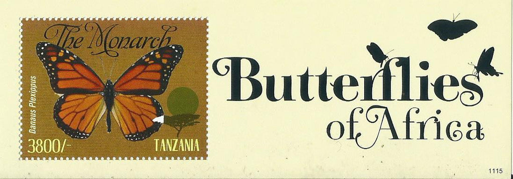 Butterflies of Africa - Danaus plexippus - Souvenir - Philately Tanzania stamps