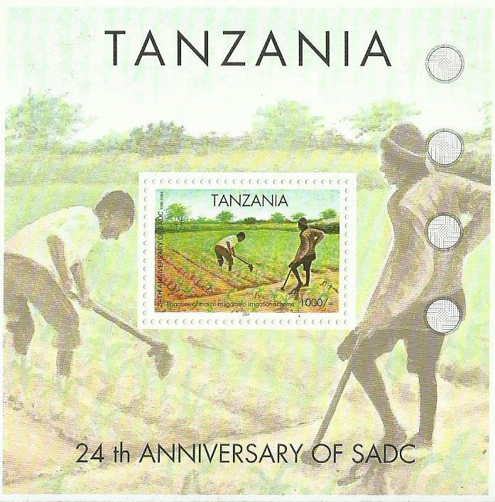 24th Anniversary of SADC - Irrigation of maize - Souvenir - Philately Tanzania stamps