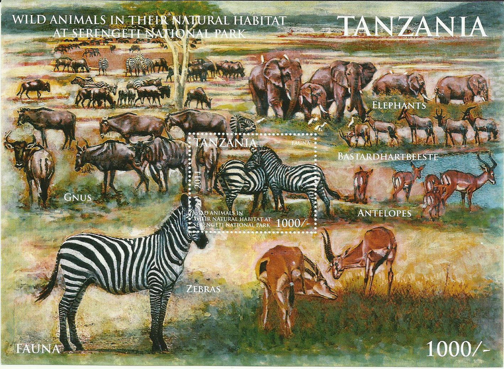 Tanzania Fauna - Zebra in Serengeti National Park - Souvenir - Philately Tanzania stamps