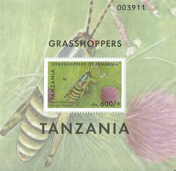 Grasshoppers of Tanzania - Elegant Grasshopper - Philately Tanzania stamps
