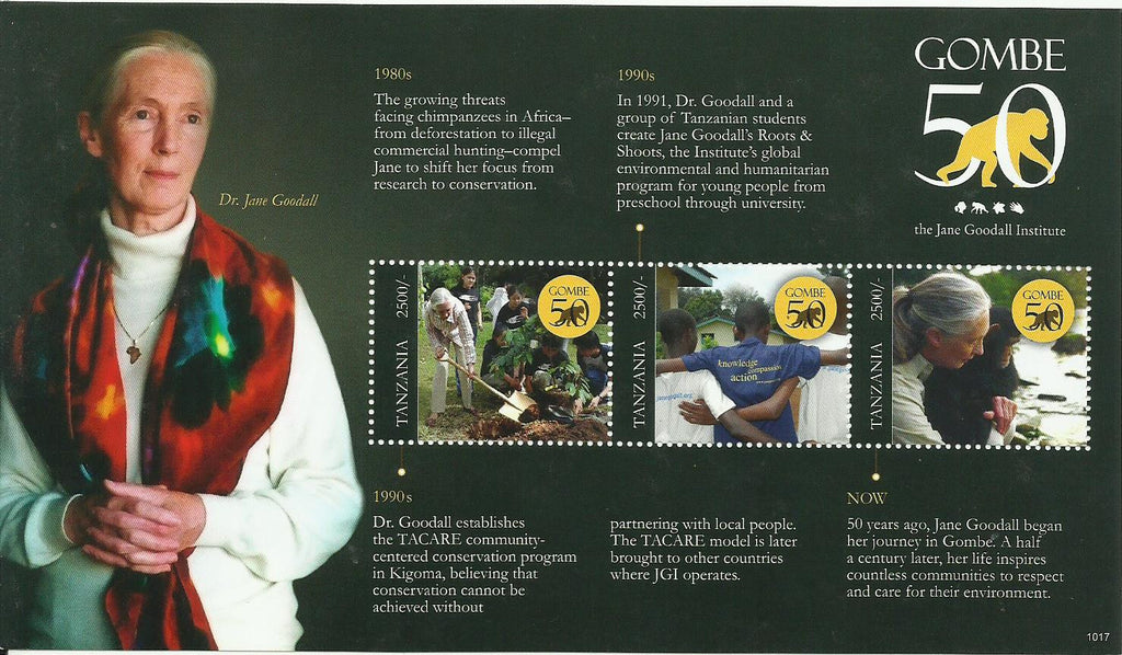 Gombe 50 Years - The Jane Goodall Institute - Sheetlet - Philately Tanzania stamps