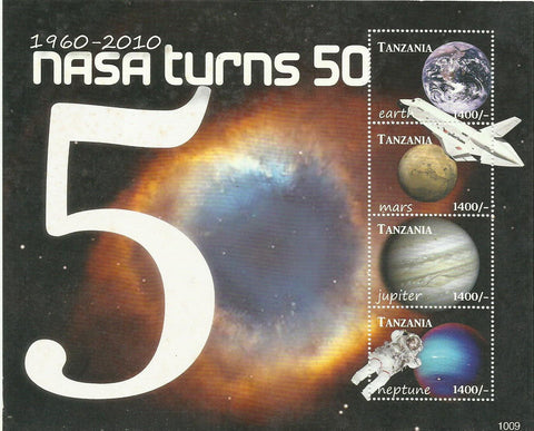 NASA 50 Years - Sheetlet - Philately Tanzania stamps