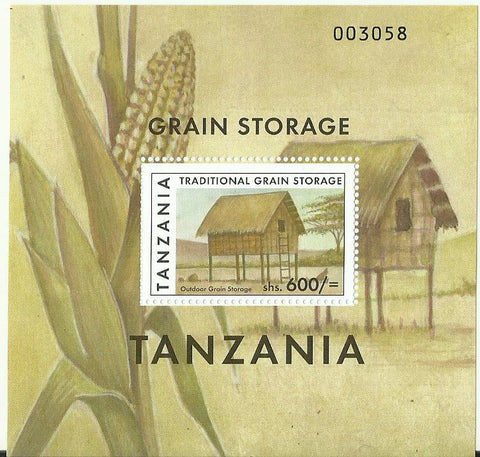Traditional Grain Storage - Souvenir - Philately Tanzania stamps