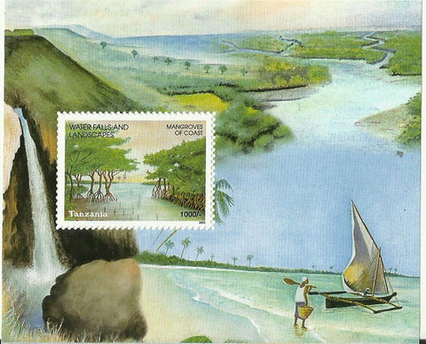 Waterfalls & Landscapes of Tanzania - Mangroves of Coast - Souvenir - Philately Tanzania stamps