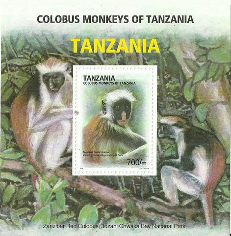 Colobus of Tanzania - Black & White Colobus - Souvenir - Philately Tanzania stamps