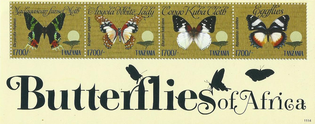Butterflies of Africa - Sheetlet - Philately Tanzania stamps