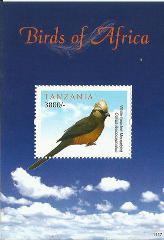 Birds of Africa - White-headed Mousebird - Souvenir - Philately Tanzania stamps