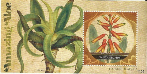 Flowers of Africa - Fan Aloe - Souvenir - Philately Tanzania stamps