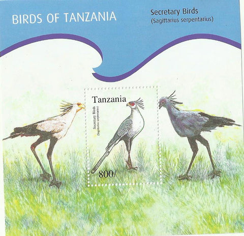 Birds of Tanzania - Secretary Bird - Souvenir - Philately Tanzania stamps