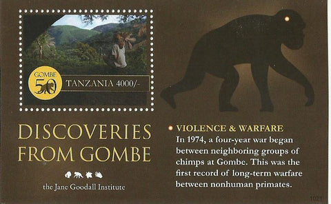 Gombe 50 Years - The Jane Goodall Institute - Souvenir - Philately Tanzania stamps