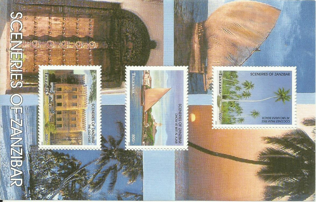 Sceneries of Zanzibar - Sheetlet - Philately Tanzania stamps