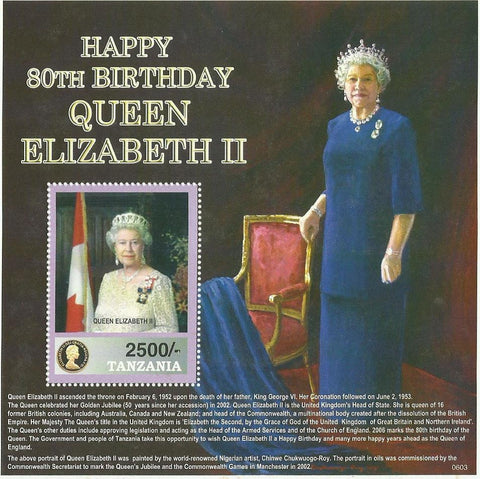 80th Birthday of HM Queen Elizabeth II - Souvenir - Philately Tanzania stamps