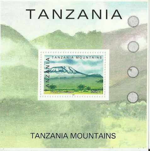 Tanzanian mountains - Mount Kilimandjaro - Souvenir - Philately Tanzania stamps