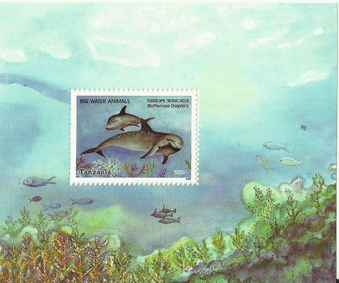 Big Water Animals - Bottlenose dolphin (Tursiops truncatus) - Souvenir - Philately Tanzania stamps