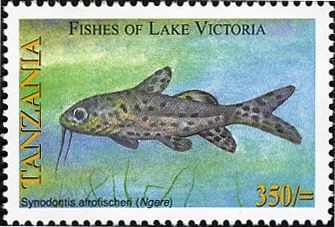 Fishes of Lake Victoria - Synodontis - Philately Tanzania stamps