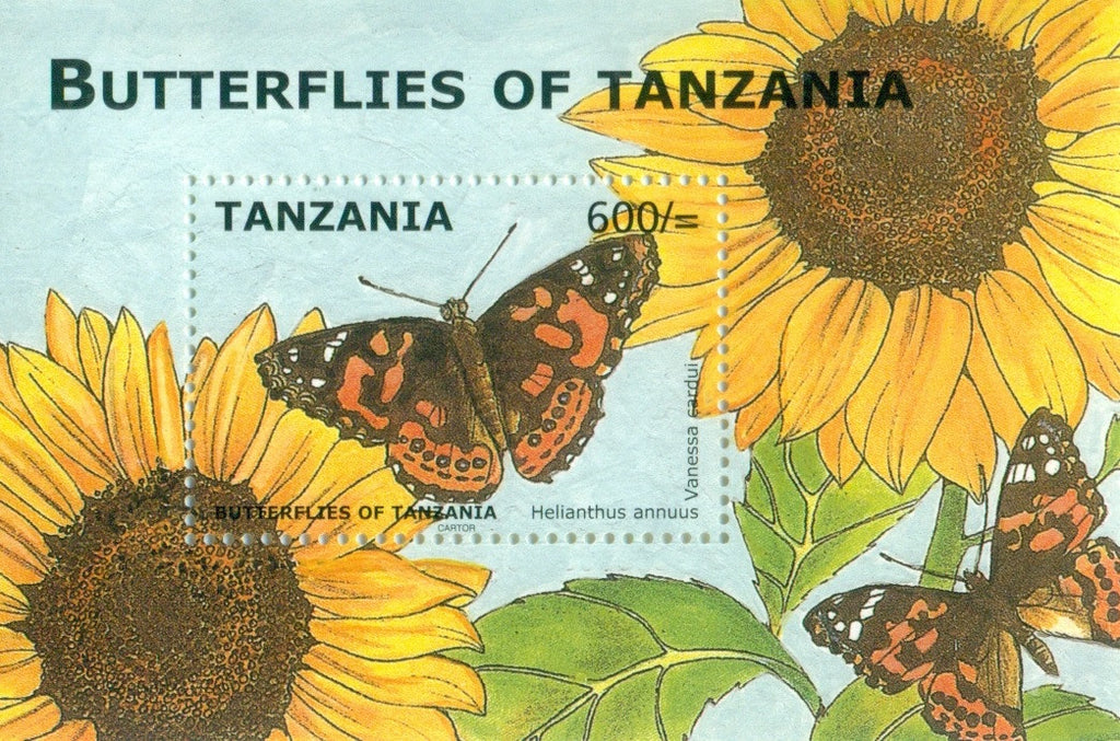 Butterflies of Tanzania - Helianthus annuus - Souvenir - Philately Tanzania stamps
