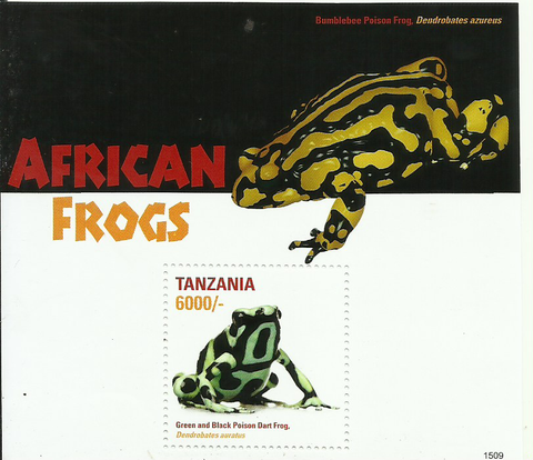 African Frogs (Souvenir)  - Green and Black Poison - Philately Tanzania stamps
