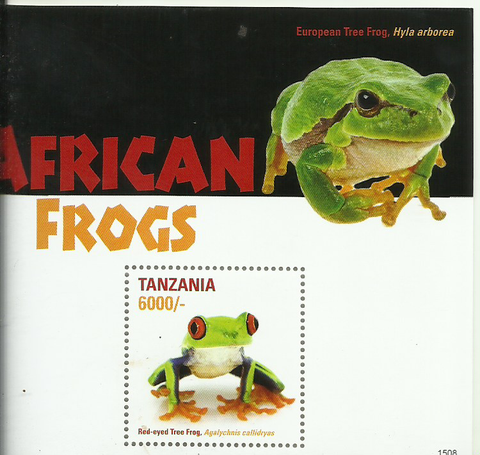 African Frogs (Souvenir)-  Red eyed - Philately Tanzania stamps