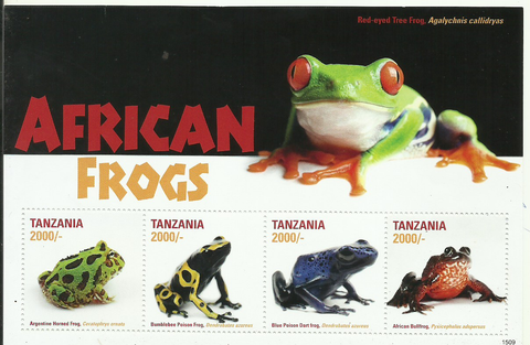 African Frogs Sheetlet - Philately Tanzania stamps