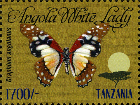 Butterflies of Africa - Graphium angolanus - Philately Tanzania stamps