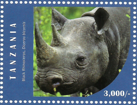 Black Rhino - Philately Tanzania stamps
