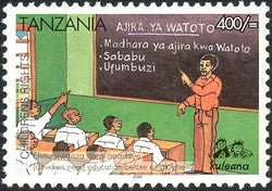 Childrens Rights II - Children need education before employment - Philately Tanzania stamps