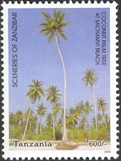 Sceneries of Zanzibar-Coconut Palm Tree at Michamvi Beach - Philately Tanzania stamps