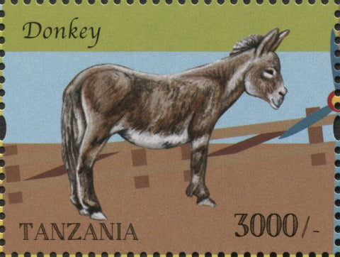 Farm Animals-Donkey - Philately Tanzania stamps