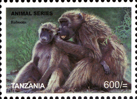 Fauna Mammals-Baboons - Philately Tanzania stamps