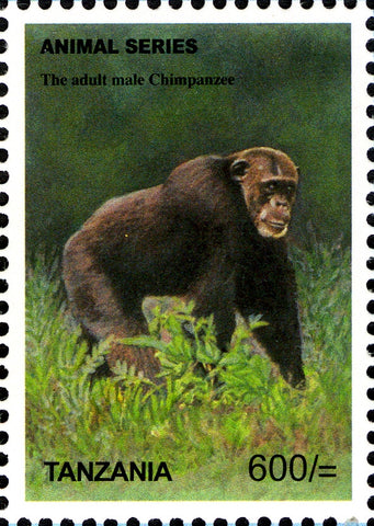 Fauna Mammals-Adult Male Chimpanzee - Philately Tanzania stamps
