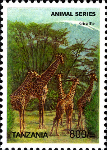 Fauna Mammals-Giraffe - Philately Tanzania stamps