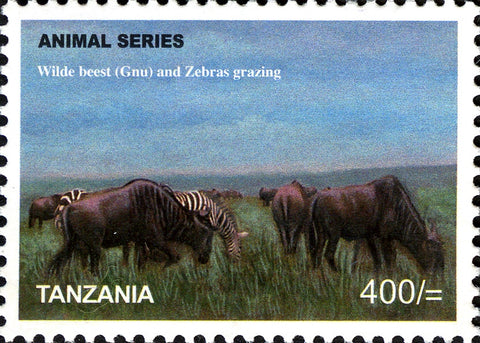 Fauna Mammals-Wildebeest & Zebra - Philately Tanzania stamps