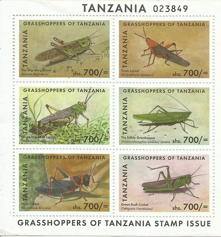 Grasshoppers of Tanzania - Sheetlet - Philately Tanzania stamps