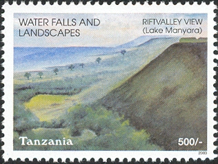 Waterfalls -Lake Manyara - Philately Tanzania stamps