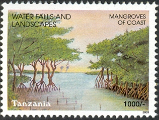Water falls -Mangroves of Coast - Philately Tanzania stamps