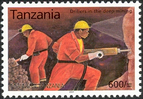 Mining in Tanzania - Drillers in the deep mining - Philately Tanzania stamps