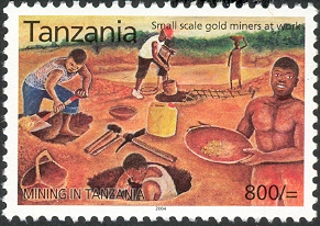 Mining in Tanzania - Small scale gold - Philately Tanzania stamps