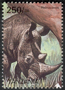 Big five - Rhinoceros - Philately Tanzania stamps