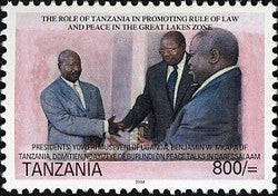 Presidents Museveni of Uganda, Benjamin Mkapa of Tanzania and Domitien Ndayizeye of Burundi - Philately Tanzania stamps