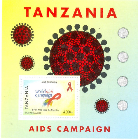 Aids Campaign - Souvenir - Philately Tanzania stamps