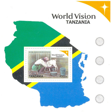 World vision Tanzania Series IV - Income Generation and Nutrition - Souvenir - Philately Tanzania stamps