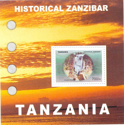 Historical Zanzibar - Colobus Monkey - Souvenir - Philately Tanzania stamps