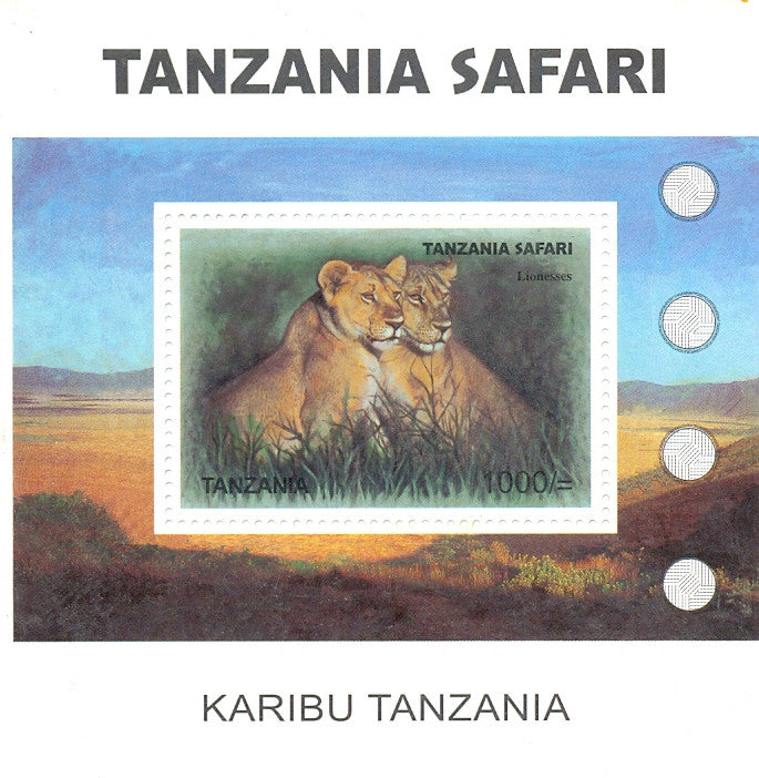 Tanzania Safari - Lionesses - Souvenir - Philately Tanzania stamps