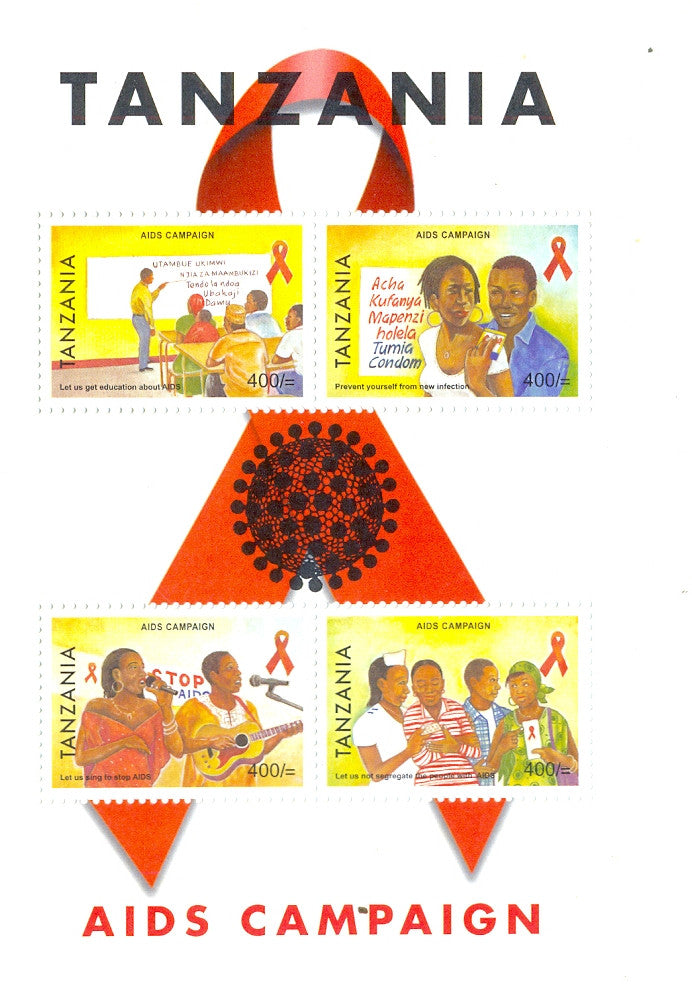 Aids Campaign - Sheetlet - Philately Tanzania stamps