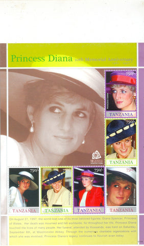 Anniversaries and Events 2007 - Princess Diana 10th Memorial Anniversary - Sheetlet - Philately Tanzania stamps