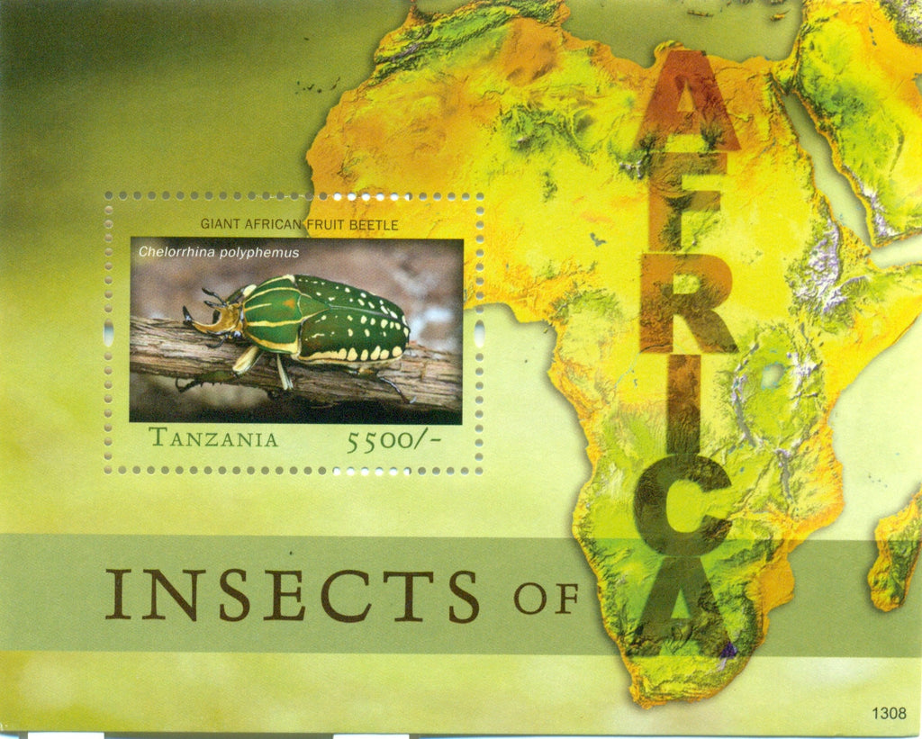Fauna and Flora of Africa - Giant African Fruit Beetle - Souvenir - Philately Tanzania stamps