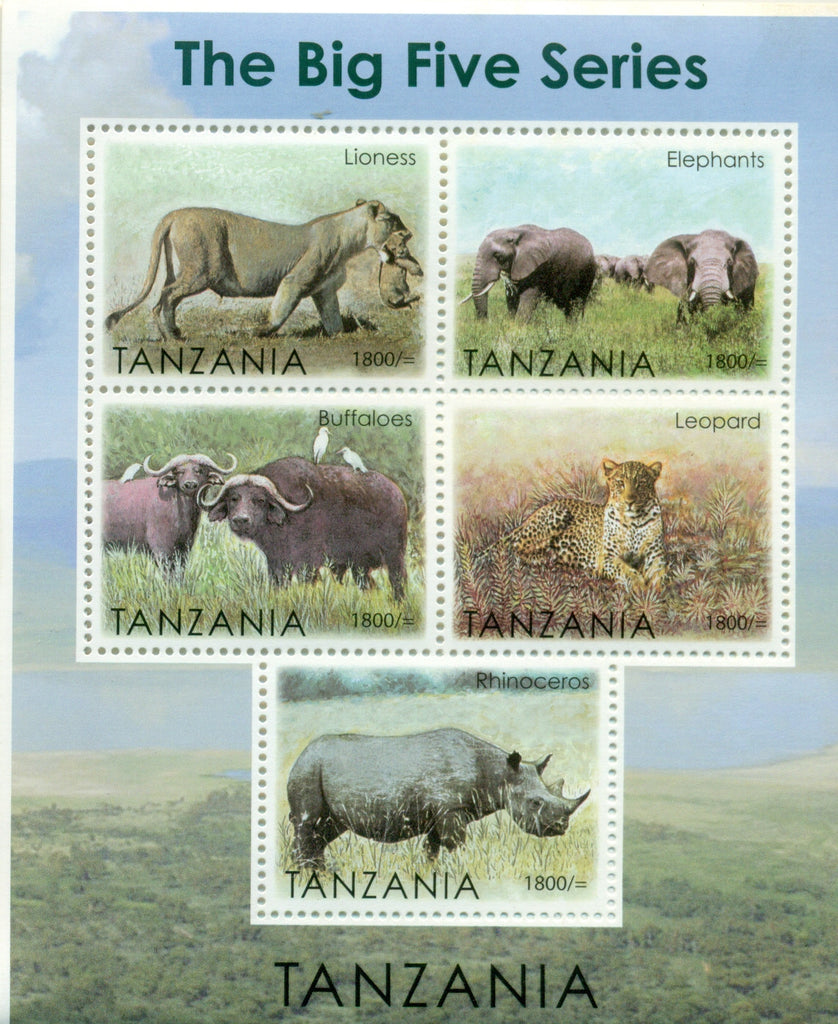 The Big Five Series - Sheetlet - Philately Tanzania stamps